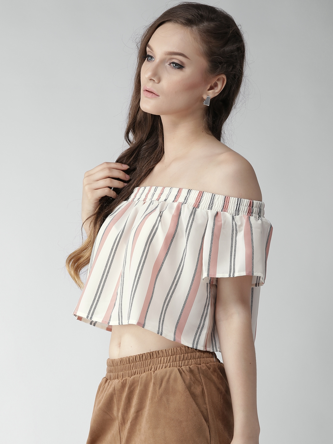 760e95789e5e1 Buy FOREVER 21 Women Off White   Peach Coloured Striped Bardot Crop ...