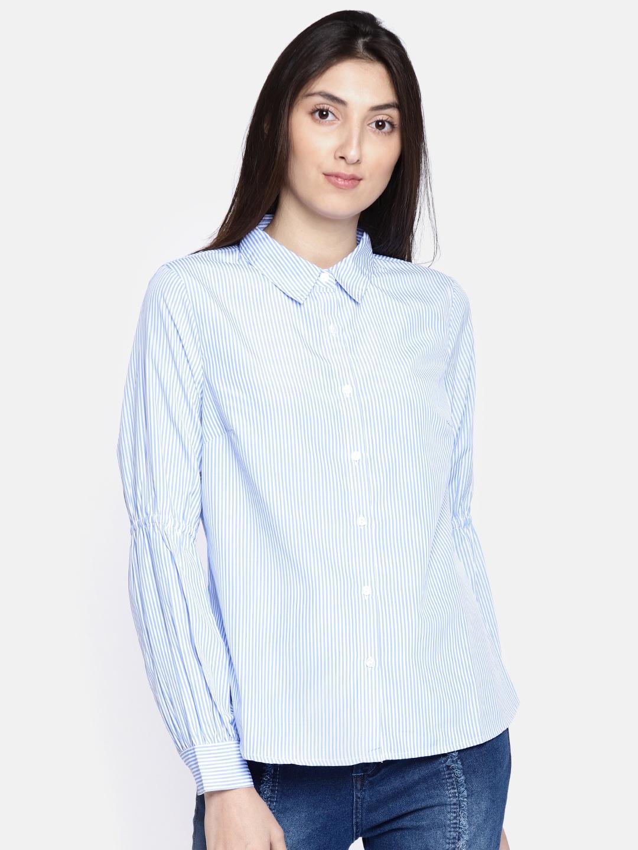 41cc16276e Buy Vero Moda Women White & Blue Regular Fit Striped Casual Shirt ...