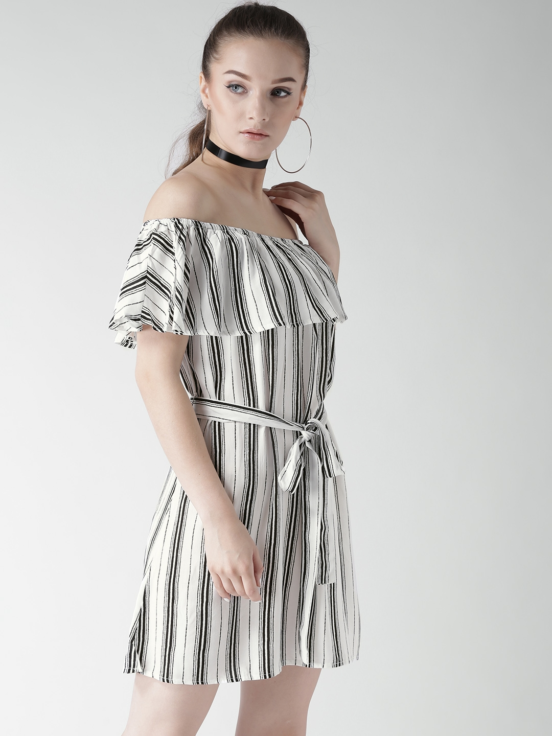 d15b44b9f126 Buy FOREVER 21 Women White Striped Off Shoulder A Line Dress ...