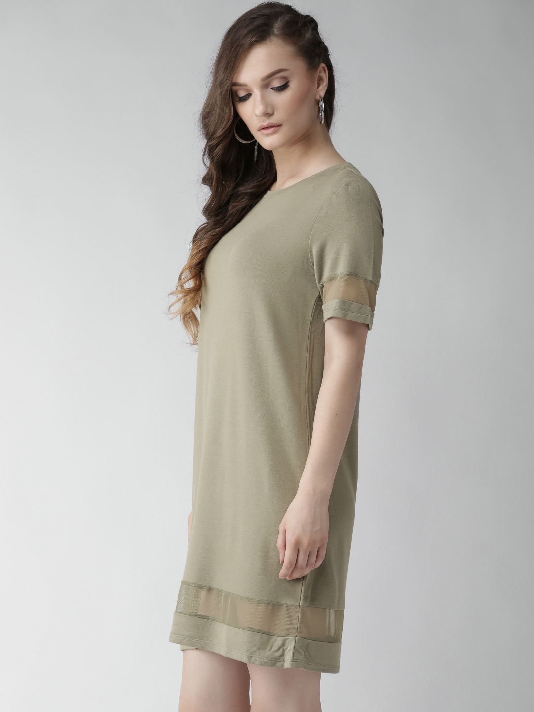 Buy FOREVER 21 Women Olive Green Solid T Shirt Dress - Dresses for ... de9bbf8f99