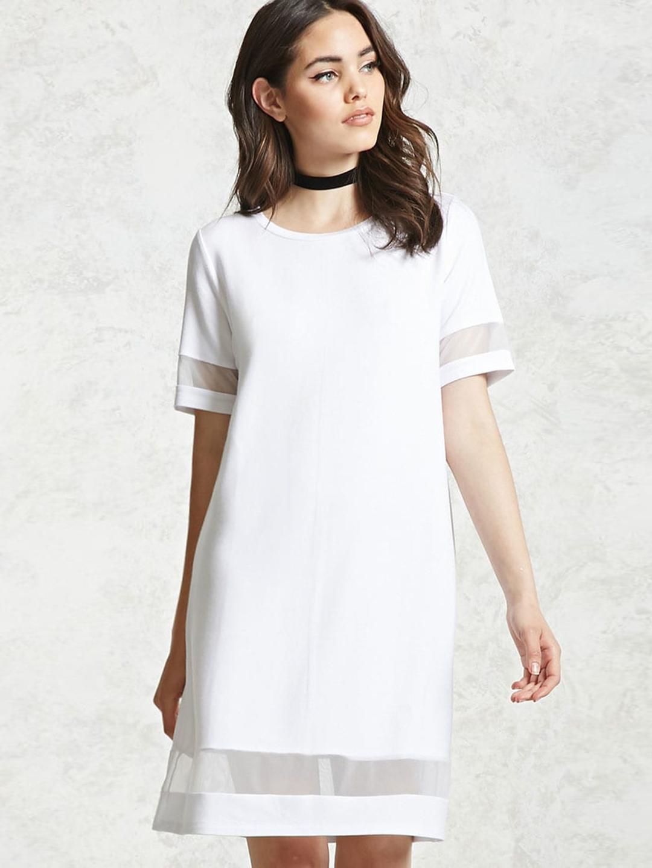 86469f3b9a Buy FOREVER 21 Women White Solid Shift Dress - Dresses for Women ...