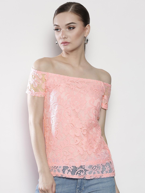 da521456b8aae7 Buy DOROTHY PERKINS Women Pink Lace Bardot Top - Tops for Women ...