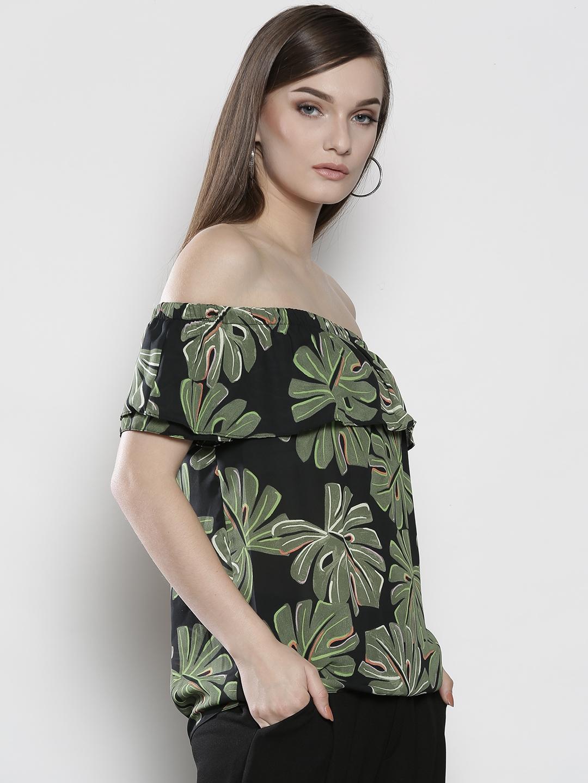 0d491633683afb Buy DOROTHY PERKINS Women Petite Black & Olive Green Printed Bardot ...