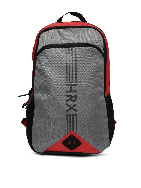 21b2fe6a87 HRX by Hrithik Roshan Unisex Grey & Black Ribbed Brand Logo Printed Backpack