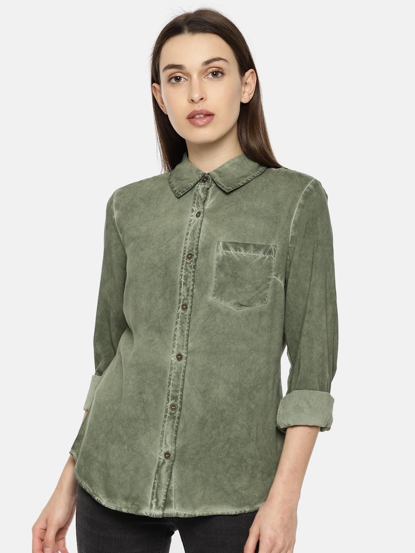 Vero Moda Women Olive Green Regular Fit Faded Casual Shirt