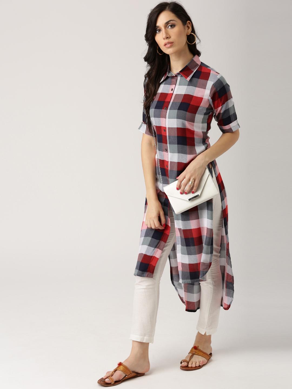 6ab33405c Buy Libas Women Multicoloured Checked Straight Kurta - Kurtas for ...