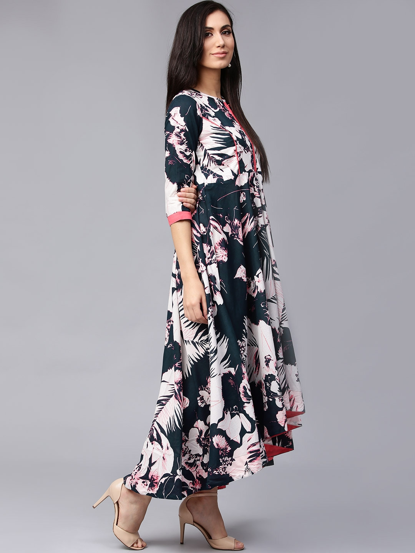 8307cb73c06 Buy Rain   Rainbow Women Navy Blue Tropical Print Maxi Dress ...