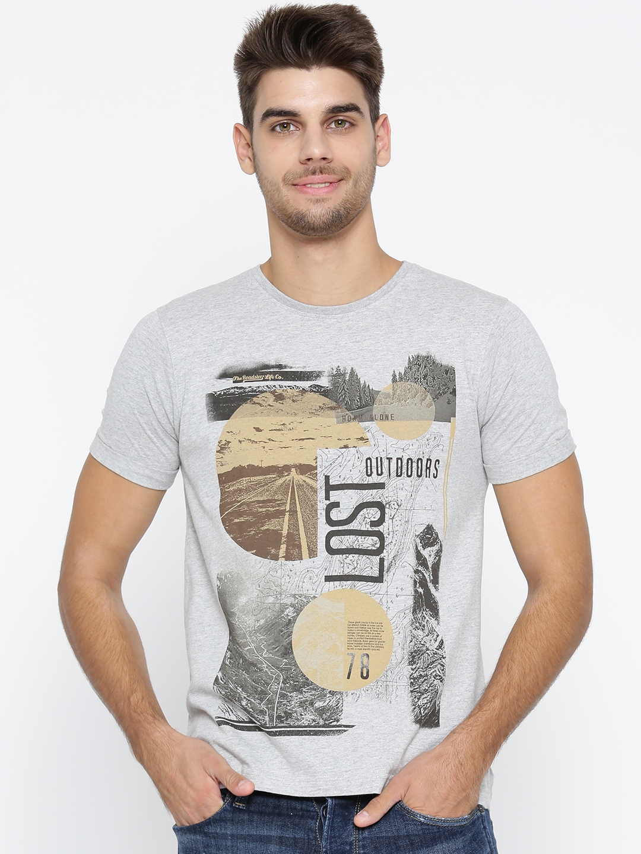 30d1a8ea Buy Roadster Men Grey Melange Printed Round Neck T Shirt - Tshirts ...