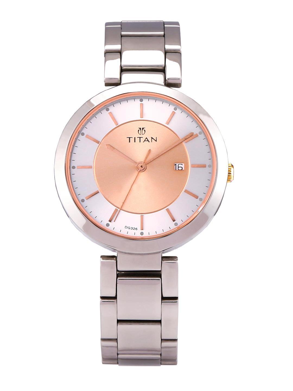 Titan Women Silver   Rose Gold Toned Analogue Watch 2480KM01