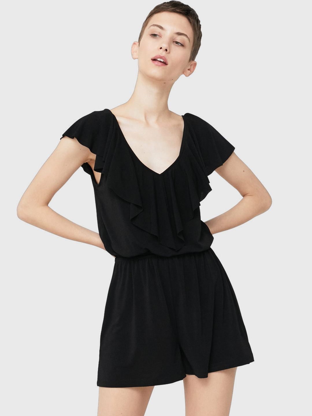 32710c5a50f Buy MANGO Black Ruffle Detail Playsuit - Jumpsuit for Women 2001230 ...