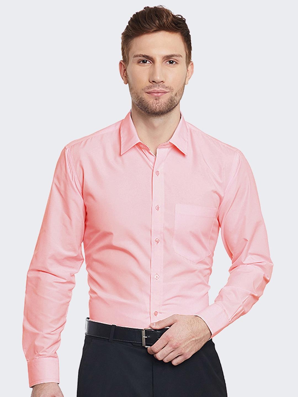 Hancock Men Coral Pink Slim Fit Solid Formal Shirt