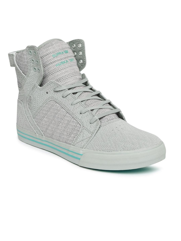 97dc52d2d761 Buy Supra Men Grey Woven Design SKYTOP High Top Skate Shoes - Casual ...
