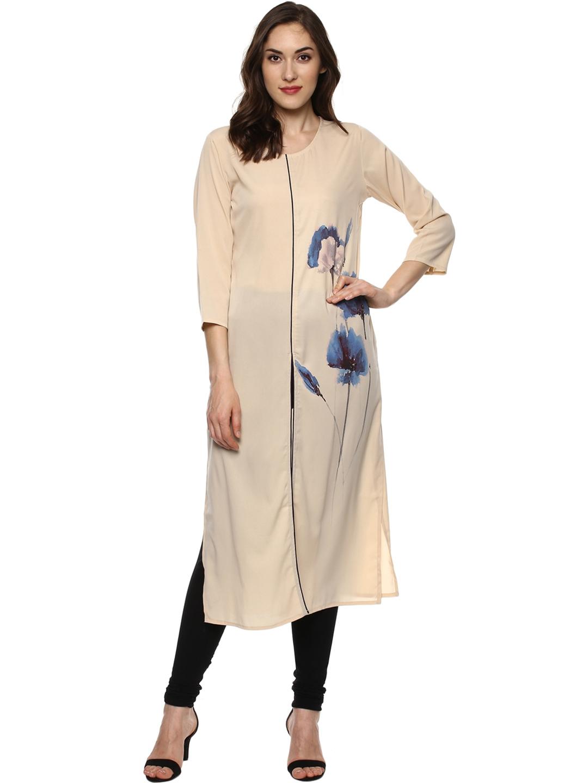 Buy Bhama Couture Women Beige Printed Straight Kurta Kurtas For