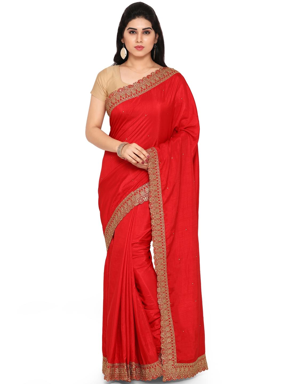 3e28022235220 Buy Saree Mall Red Embellished Art Silk Saree - Sarees for Women ...