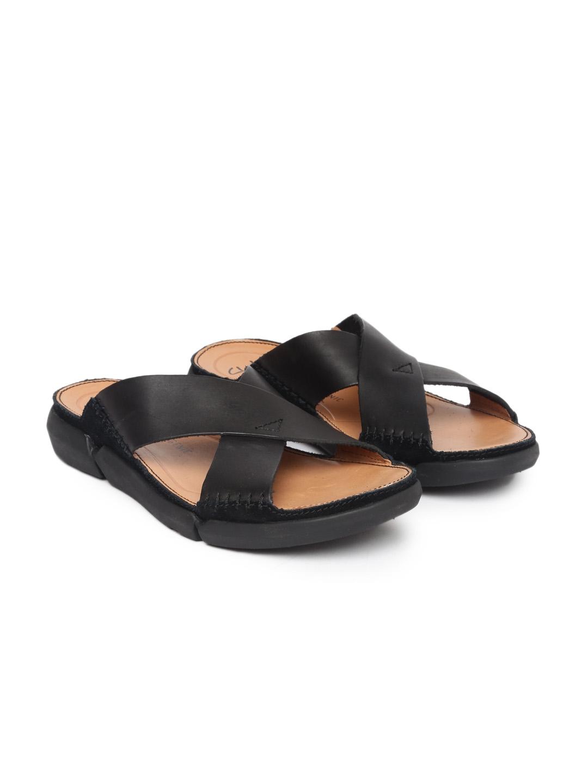 7812c46a1e1e Buy Clarks Men Black Trisand Cross Leather Sandals - Sandals for Men ...
