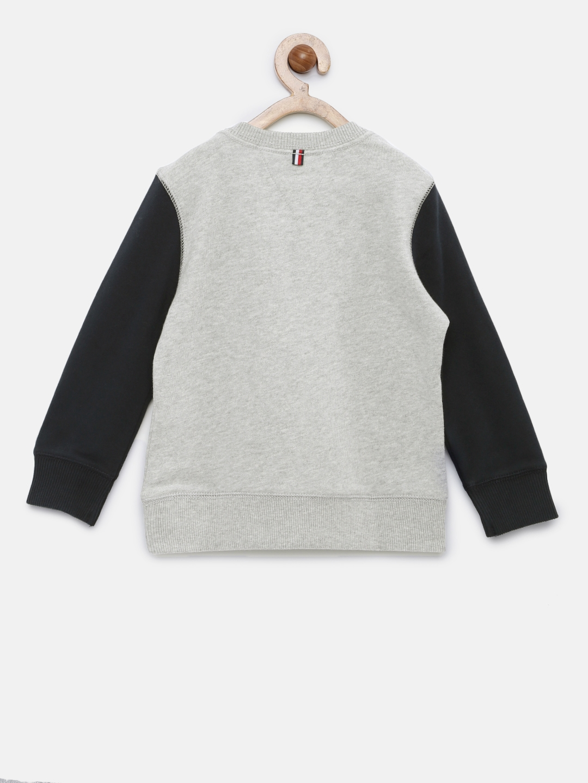 797942c3730d2 Buy Tommy Hilfiger Boys Grey Melange   Navy Blue Printed Sweatshirt ...