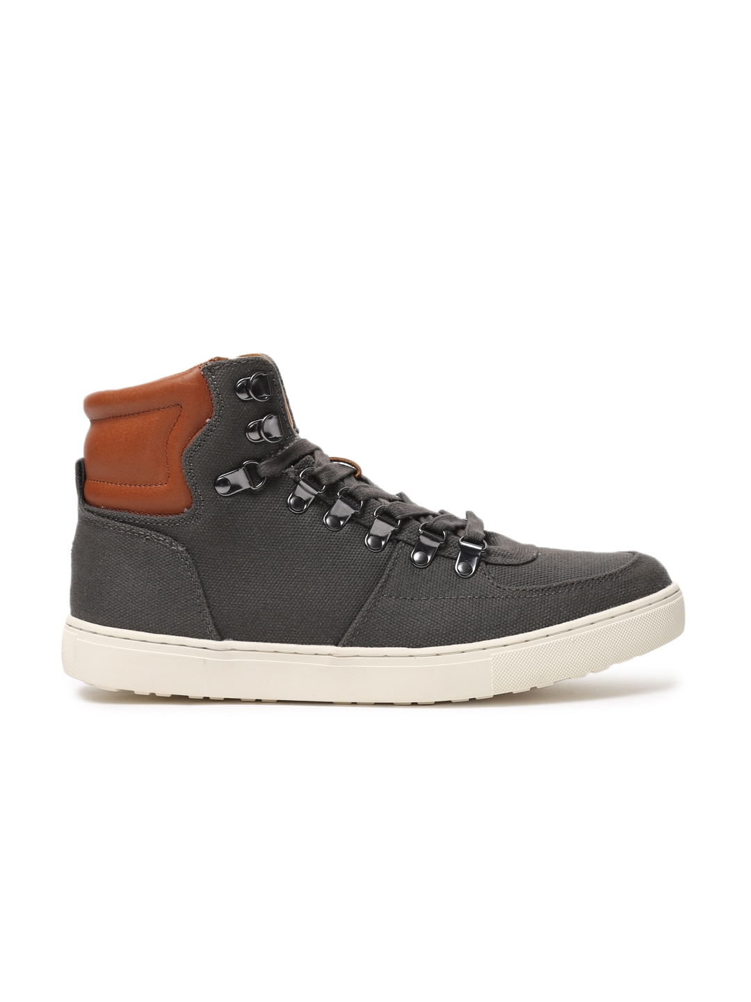 7353642b2d13 Buy Tommy Hilfiger Men Grey Solid Canvas High Top Sneakers - Casual ...