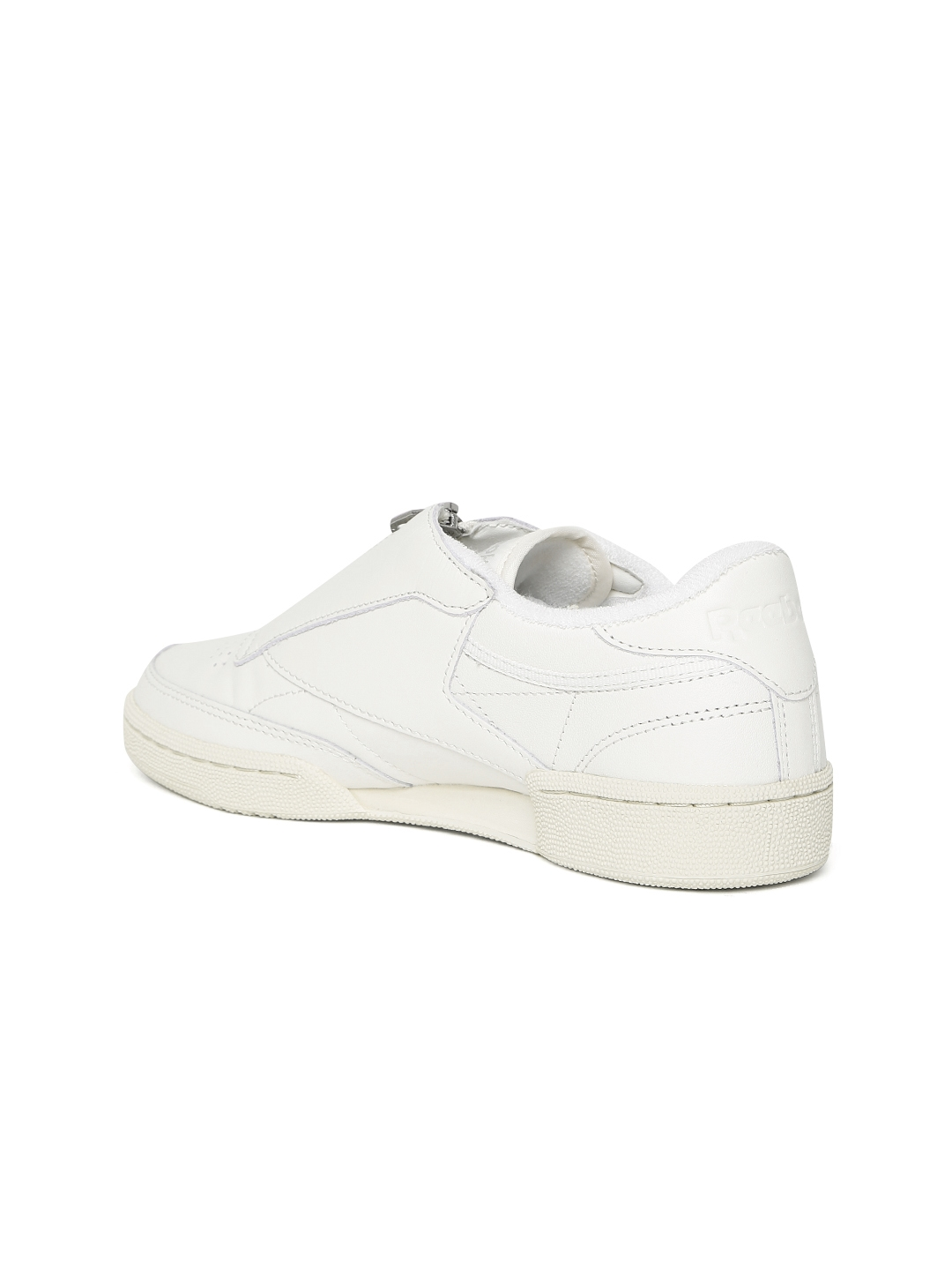 f5cb13b3e57f9 Reebok Classic Women Off-White Club C 85 Zip Leather Slip-On Sneakers