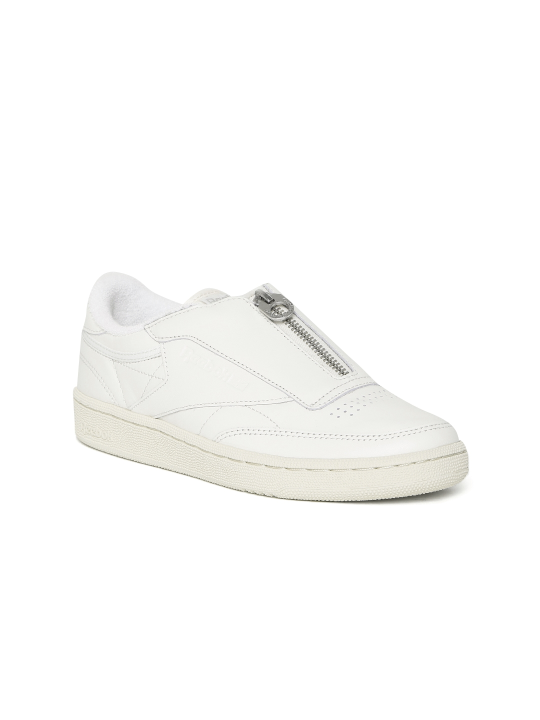 686687420594c Reebok Classic Women Off-White Club C 85 Zip Leather Slip-On Sneakers