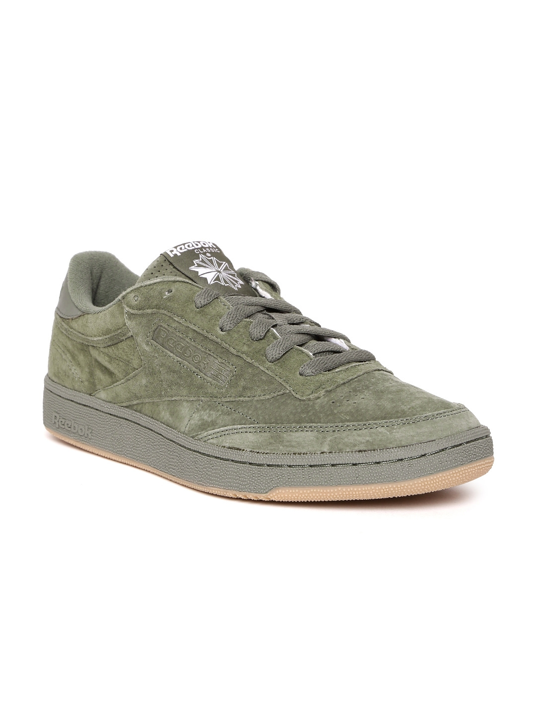 c3f71cc3ff5 Buy Reebok Classic Men Olive Green CLUB C 85 SG Suede Sneakers ...