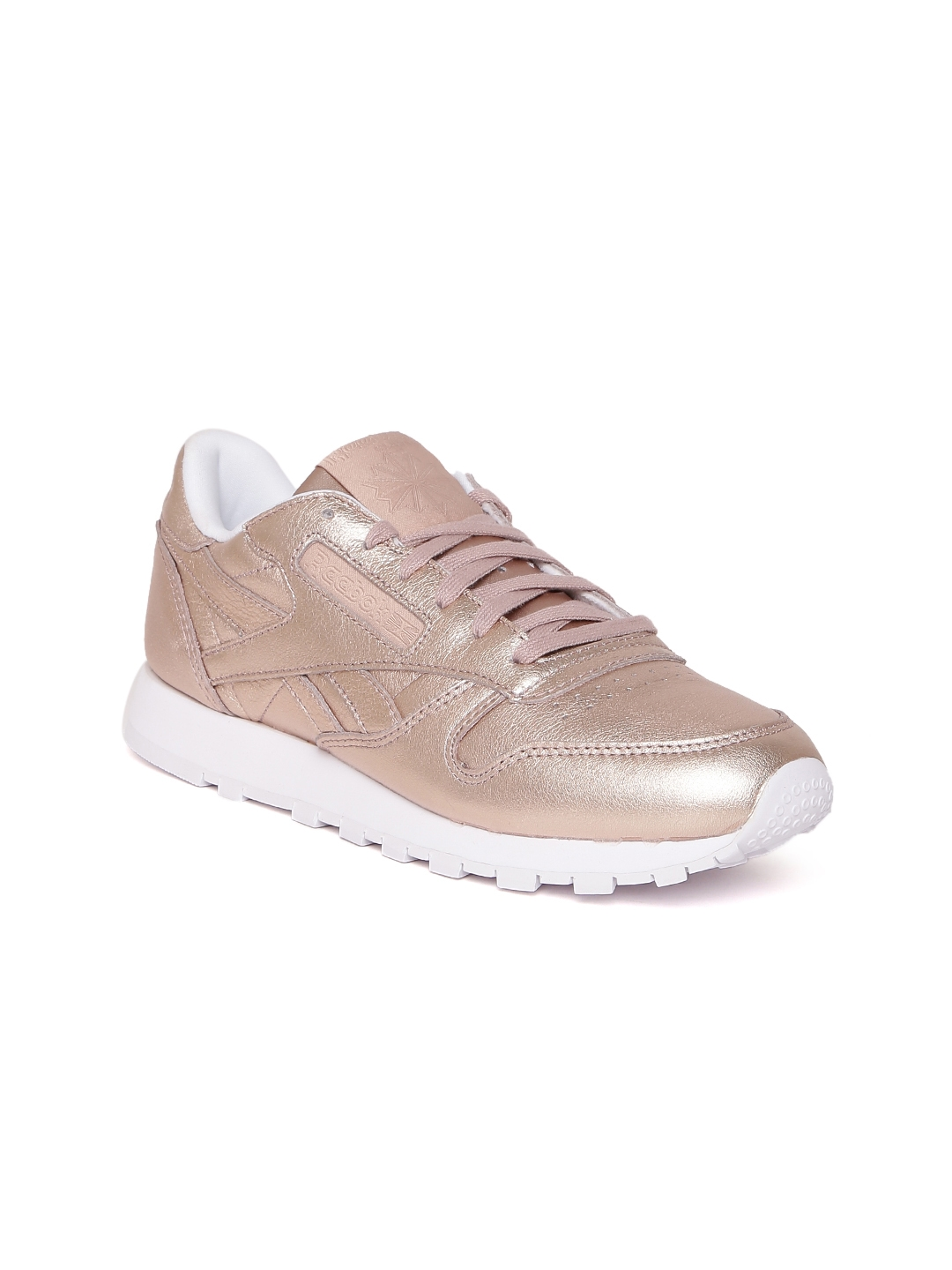 Reebok Classic Women Rose Gold-Toned CL Melted Metal Leather Sneakers 890db3dd6