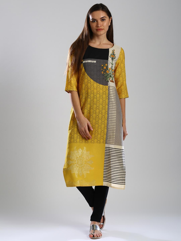 97dd86033e18 Buy W Women Yellow & Grey Printed Straight Kurta - Kurtas for Women ...