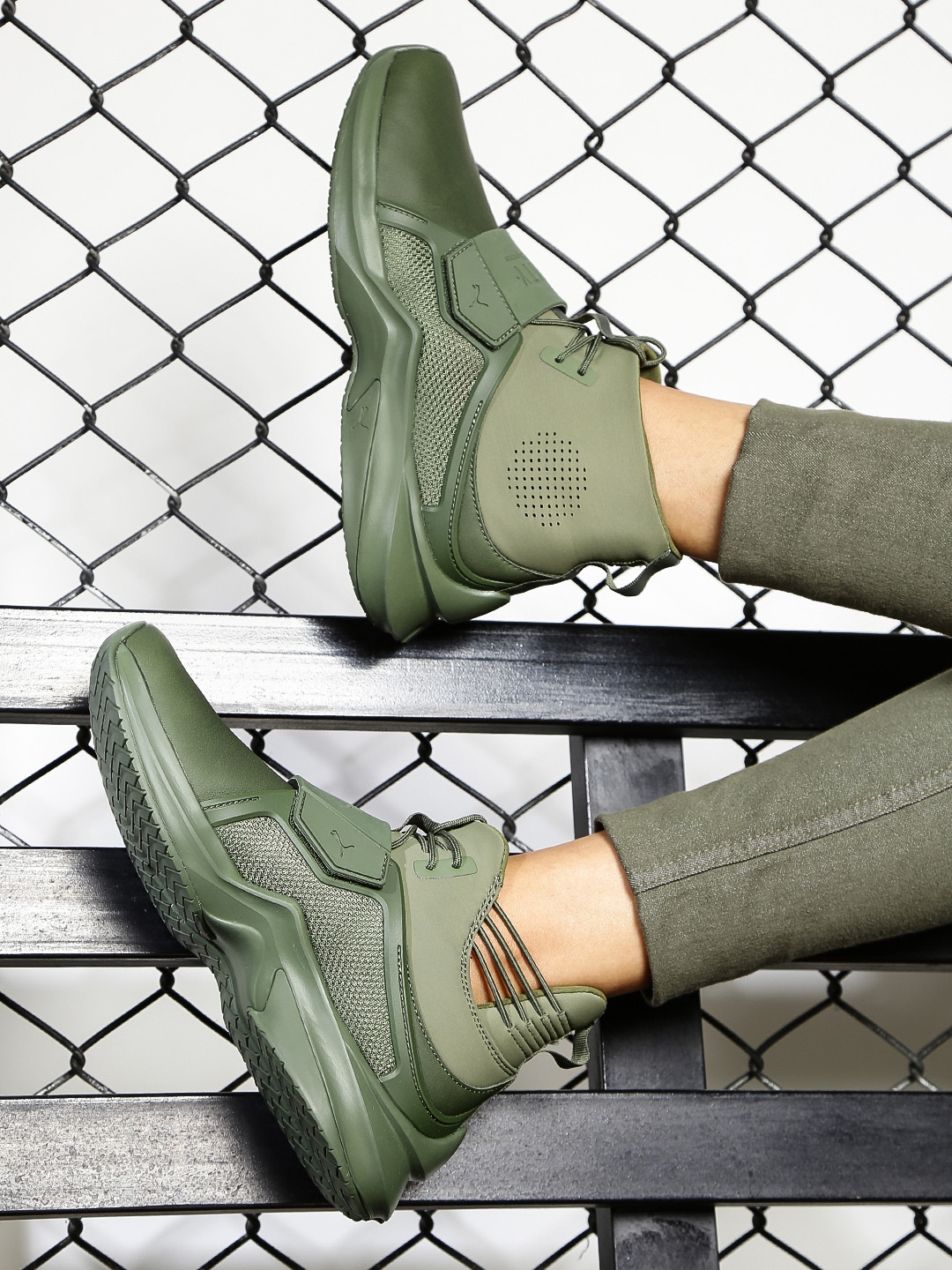 Puma Women Olive Green Solid Leather