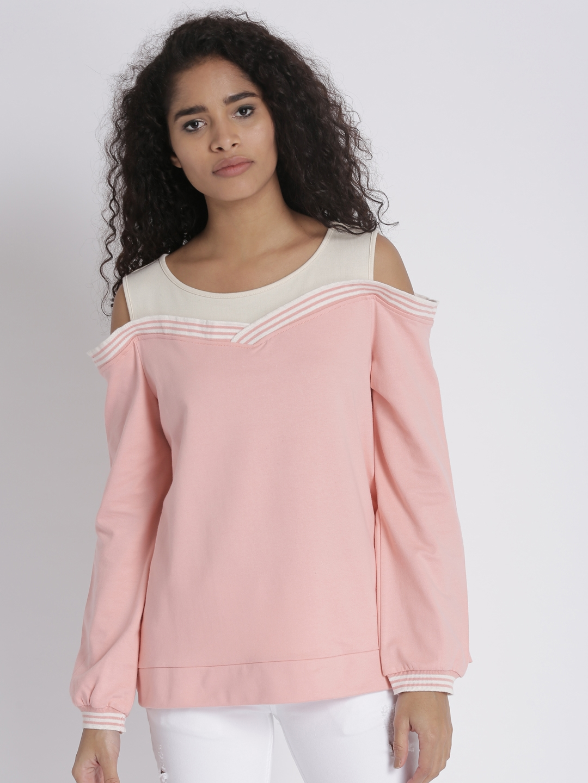 f83b273b86db0 Buy Chemistry Women Pink Cold Shoulder Sweatshirt - Sweatshirts for ...