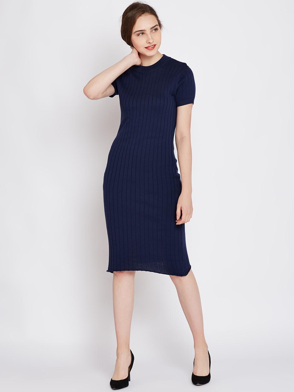 bff86488b402 Buy United Colors Of Benetton Women Navy Blue Striped Sweater Dress ...