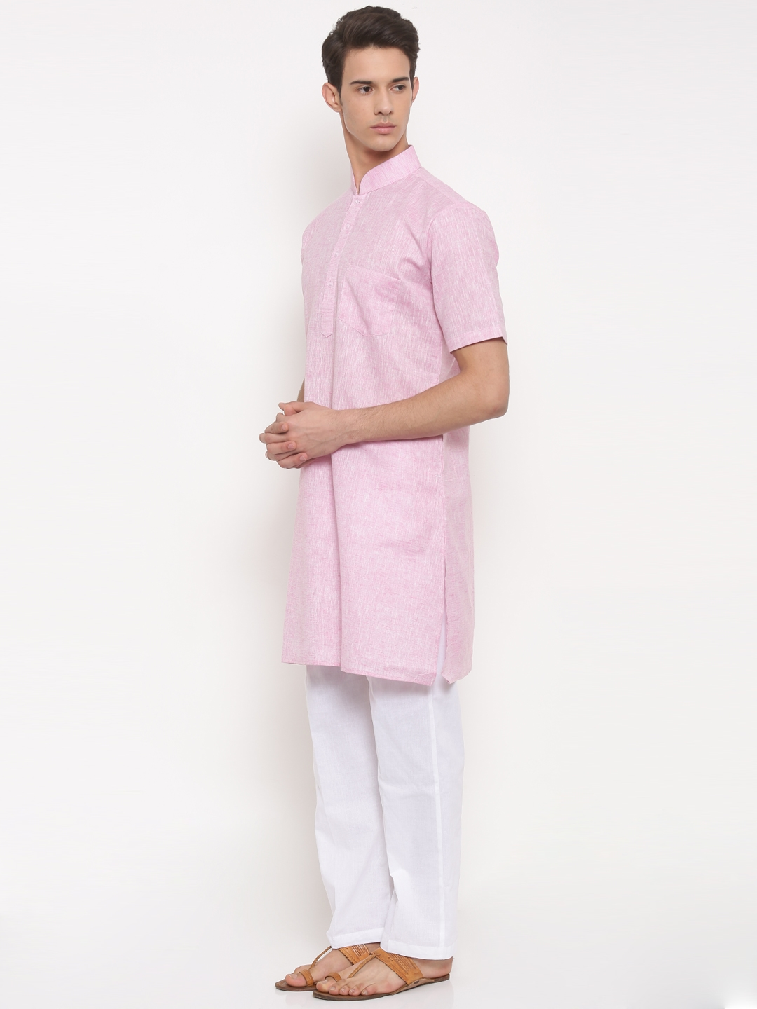 fe88af3cee7 Buy RG DESIGNERS Men Pink & White Solid Kurta With Pyjamas - Kurta ...