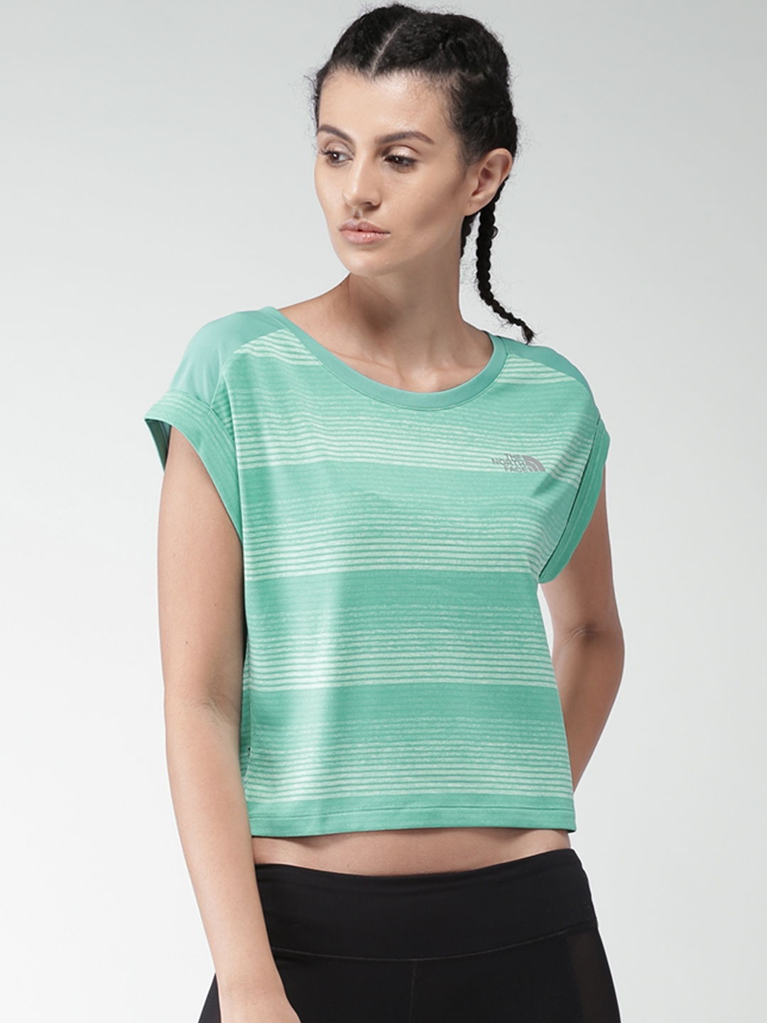 Buy The North Face Women Green Striped Round Neck Crop T Shirt ... 8efa97480