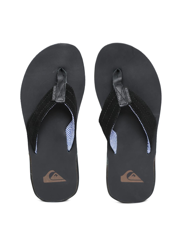 188cf21e7e3b48 Buy Quiksilver Men Black Leather Flip Flops - Flip Flops for Men ...