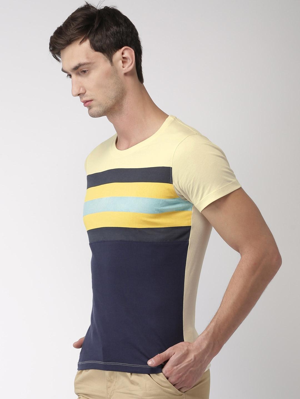 c9c88954 Buy Harvard Men Cream Coloured & Navy Striped T Shirt - Tshirts for ...
