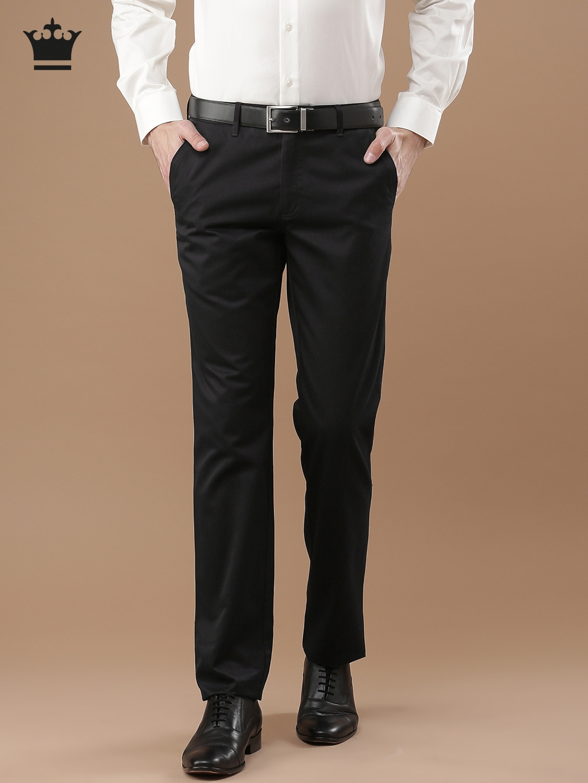 94711ec574cf7a Buy Louis Philippe Men Black Milano Fit Solid Formal Trousers ...