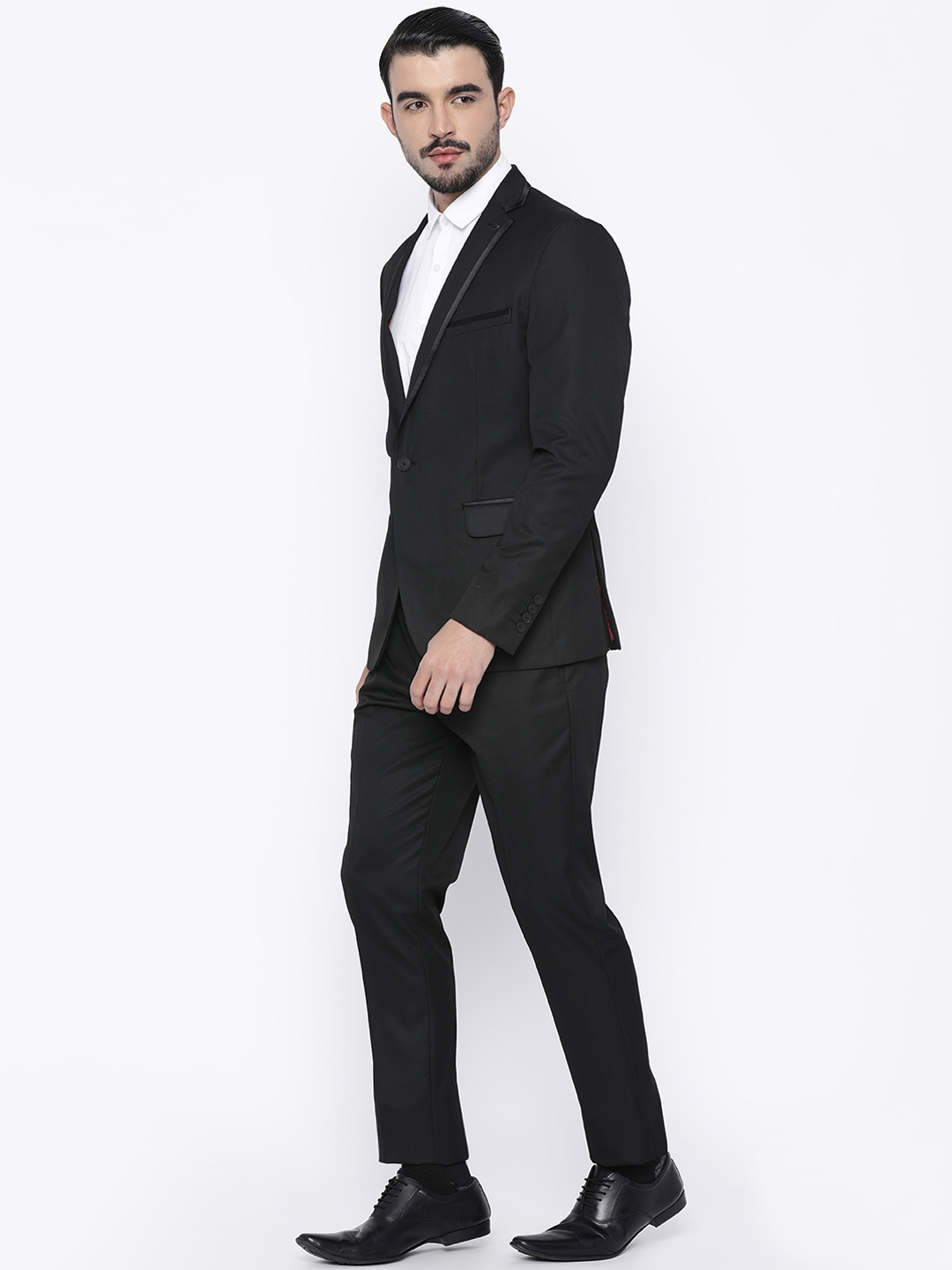 3aa85ed5a2a2b2 Buy Louis Philippe Black Single Breasted Milano Fit Formal Suit ...