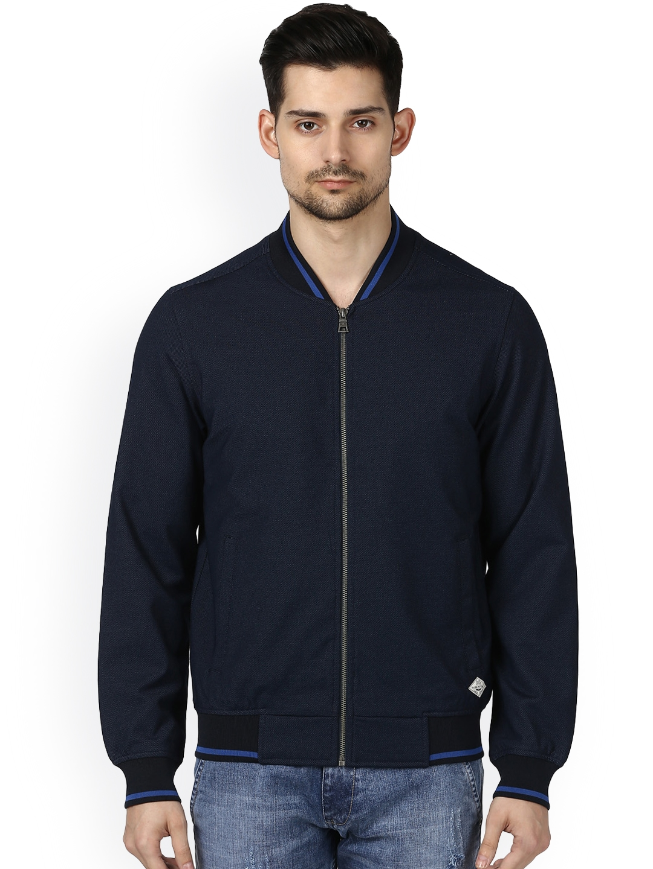 3a748244fa Buy Park Avenue Men Blue Solid Bomber Jacket - Jackets for Men ...