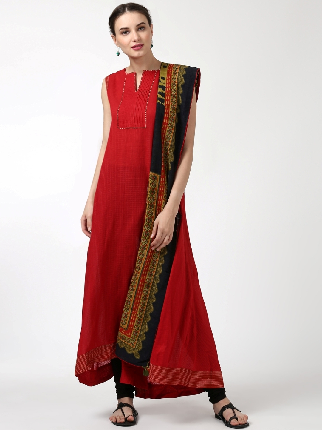 Buy Ritu Kumar Women Red Black Kurta With Churidar Dupatta