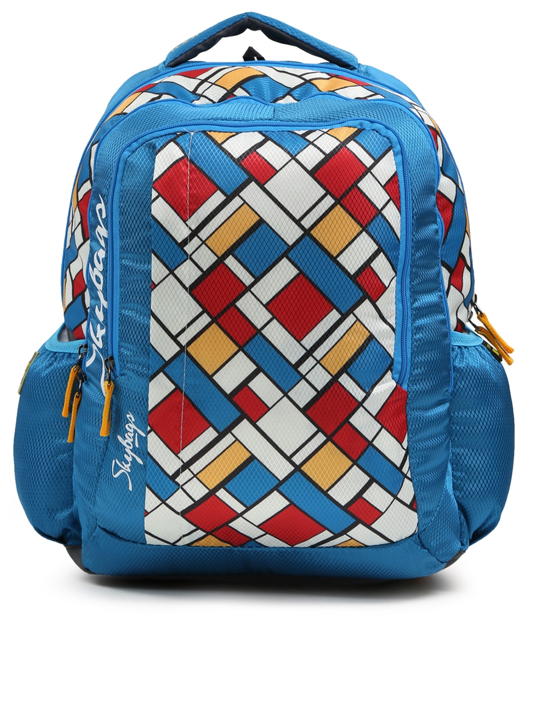 Buy Skybags Kids Blue   White FOOTLOOSE HELIX 06 SCHOOL Geometric Print  Backpack - Backpacks for Unisex 2016862