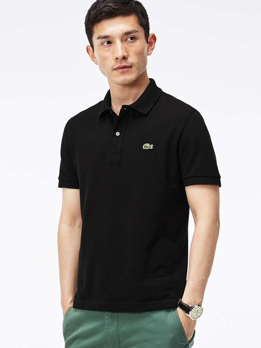 35f06c68801 Buy Lacoste Black Slim Fit Petit Pique Polo - Tshirts for Men