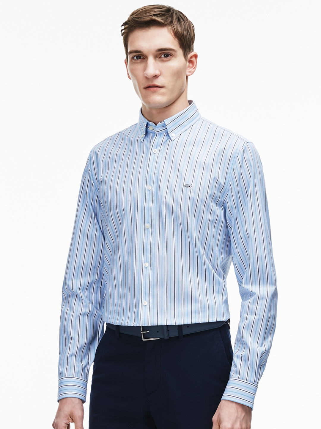 cd7dc98a77e96 Buy Lacoste Blue   White Regular Fit Striped Semiformal Shirt - Shirts for  Men 2019477