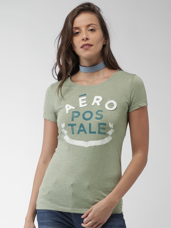 Buy Aeropostale Women Green Self Design T Shirt Tshirts For Women