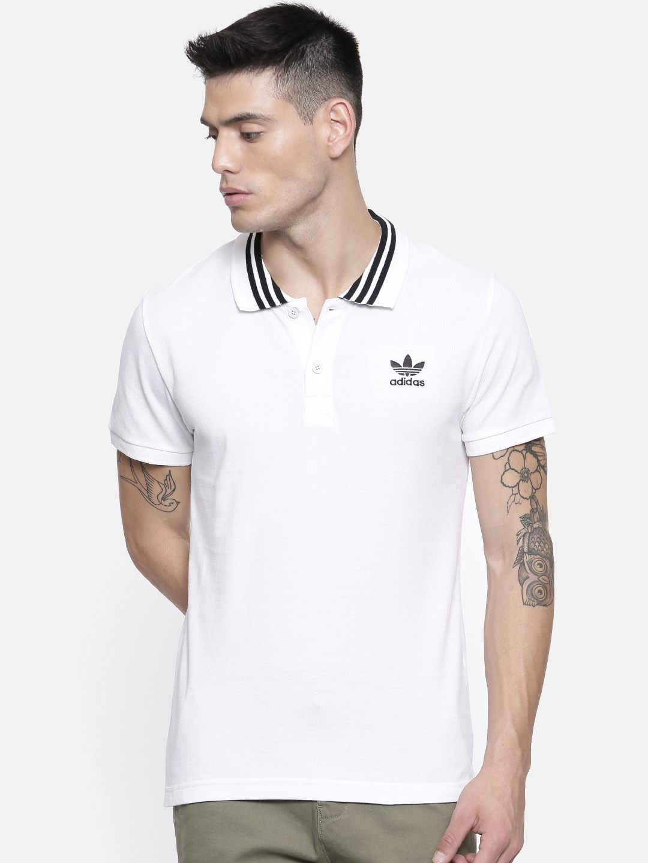 d0c98893 Buy ADIDAS Originals Men White Solid Polo Collar T Shirt - Tshirts ...