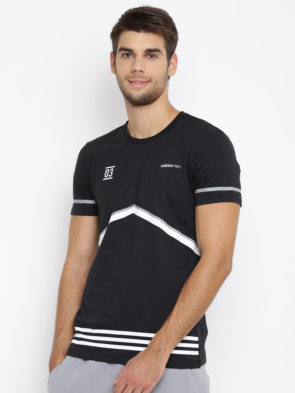 0e3573f7ccd2 Buy ADIDAS NEO Men Black CS Graphic Print Round Neck T Shirt ...