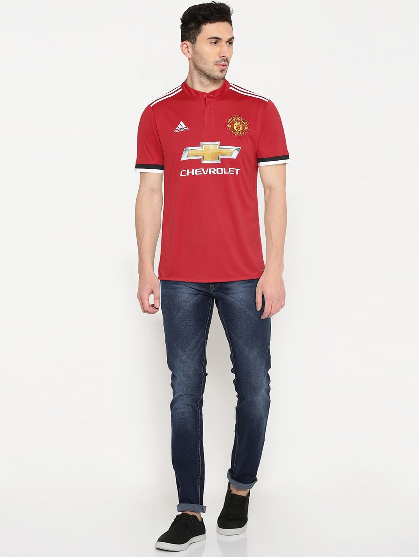 ADIDAS Men Red Manchester United Fan Club H Printed Mandarin Collar Jersey