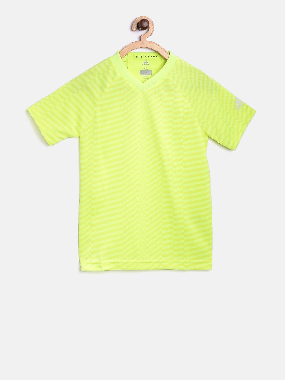 141b03621e88 Buy ADIDAS Boys Fluorescent Green YB X Printed V Neck T Shirt ...