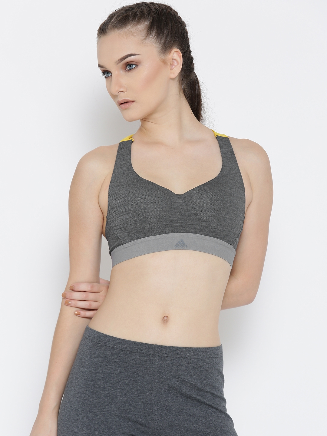 48dde3f1aa9a5 ADIDAS Charcoal Grey   Yellow Stronger for it RacerBack Heather Lightly  Padded Sports Bra BR5229