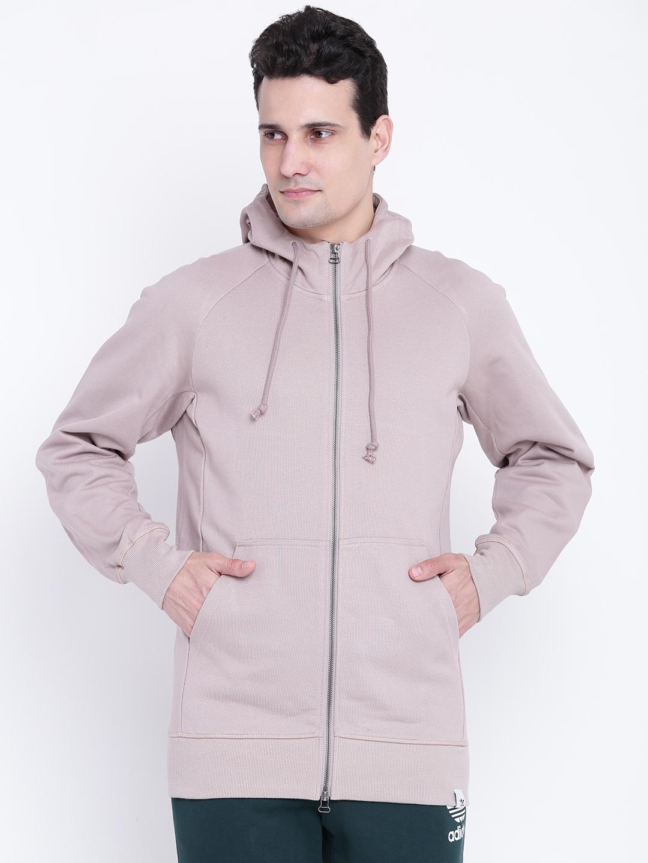 more photos 390a7 8ff1d Adidas Originals Men Taupe XBYO FullZip Solid Hooded Sweatshirt