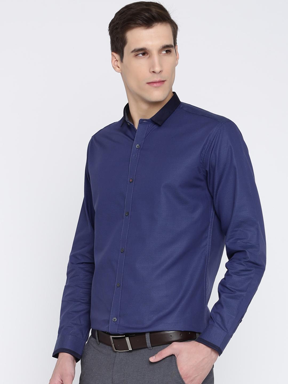 Buy V Dot Men Blue Slim Fit Self Design Formal Shirt Shirts For