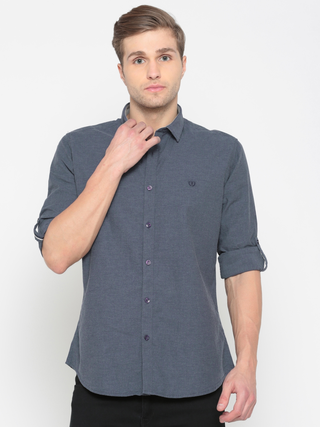Buy Van Heusen Sport Men Blue Slim Fit Solid Casual Shirt Shirts
