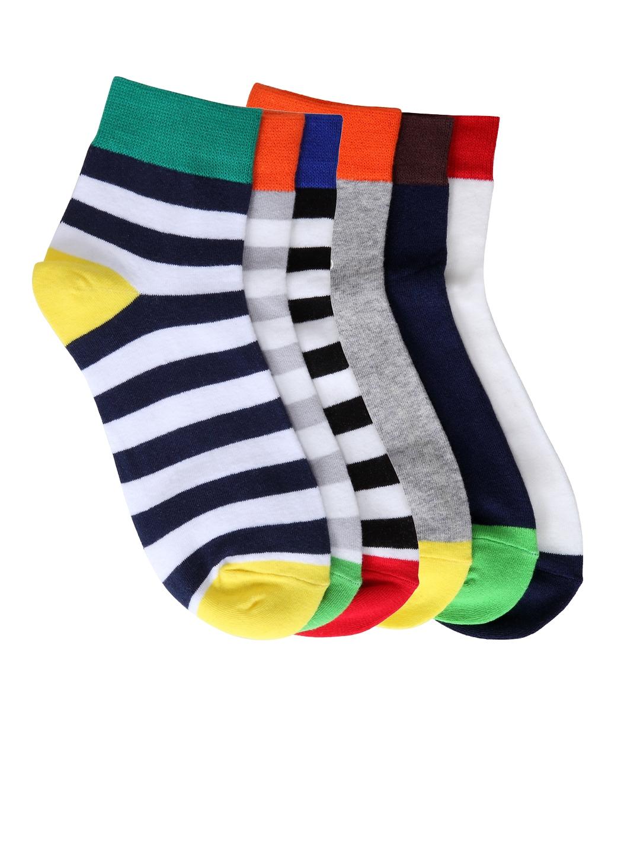 Color Fevrr Unisex Multicoloured Packs of 6 Above Ankle Length Socks Color Fevrr Socks